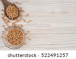 chickpeas in a wooden spoon and ... | Shutterstock . vector #522491257