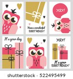 set of 6 cute creative cards... | Shutterstock .eps vector #522495499