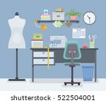 home room with workplace for... | Shutterstock .eps vector #522504001