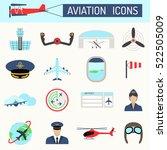 aviation icons vector set.   Shutterstock .eps vector #522505009