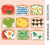 toasts collection. breakfest... | Shutterstock .eps vector #522511441