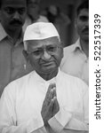 Small photo of mumbai / india 11September 2011, Anna Hazare is an Indian social activist at Ralegan Siddhi Maharashtra India
