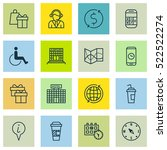 set of 16 traveling icons. can... | Shutterstock .eps vector #522522274