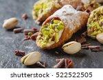 sweet homemade cannoli stuffed...   Shutterstock . vector #522522505