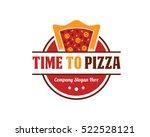 pizza badge emblem logo design... | Shutterstock .eps vector #522528121