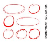 red hand drawn circle for... | Shutterstock .eps vector #522536785
