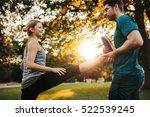 personal trainer holding leg of ... | Shutterstock . vector #522539245