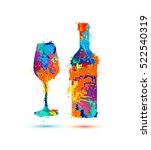 wine glass and bottle | Shutterstock .eps vector #522540319