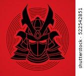samurai mask designed on line... | Shutterstock .eps vector #522542851