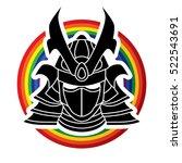 samurai mask designed on line... | Shutterstock .eps vector #522543691