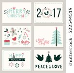 horizontal winter holidays... | Shutterstock .eps vector #522544519