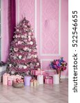 new year tree decorated in pink ... | Shutterstock . vector #522546655