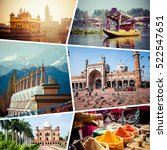 Small photo of Collage of India images - travel background (my photos)
