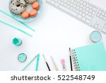 flat lay  top view office table ...   Shutterstock . vector #522548749