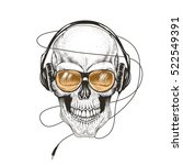 skull listening a music in... | Shutterstock .eps vector #522549391