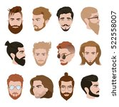 men hairstyle collection with... | Shutterstock .eps vector #522558007