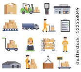 Warehouse Isolated Flat Icons...