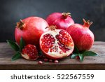 Ripe Pomegranate With Leaves O...