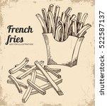 french fries illustration ... | Shutterstock .eps vector #522587137