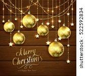 golden christmas balls and...   Shutterstock .eps vector #522592834