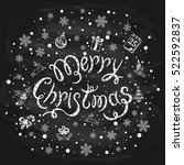 merry christmas with snowflakes ...   Shutterstock .eps vector #522592837