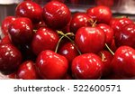 red cherry. group of fresh... | Shutterstock . vector #522600571
