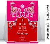 india wedding card  gold... | Shutterstock .eps vector #522604945