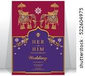 india wedding card  gold... | Shutterstock .eps vector #522604975