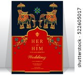 india wedding card  gold... | Shutterstock .eps vector #522605017