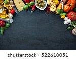 italian food. vegetables  olive ... | Shutterstock . vector #522610051