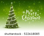 Christmas Trees On Shiny Green...