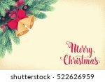golden christmas bells with fir ... | Shutterstock .eps vector #522626959
