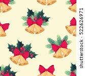 golden christmas bells seamless ... | Shutterstock .eps vector #522626971