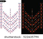 embroidery ethnic flowers neck... | Shutterstock .eps vector #522635794