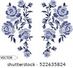 embroidery ethnic flowers neck... | Shutterstock .eps vector #522635824