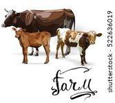 cow calf brown  vector | Shutterstock .eps vector #522636019