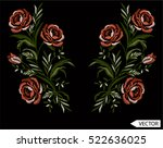 embroidery ethnic flowers neck... | Shutterstock .eps vector #522636025