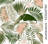 mix palm leaf tree background | Shutterstock . vector #522644785