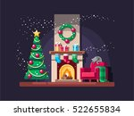 christmas living room with tree ... | Shutterstock .eps vector #522655834