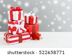 christmas background with gift... | Shutterstock . vector #522658771