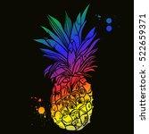 pineapple tropical fruit....   Shutterstock .eps vector #522659371