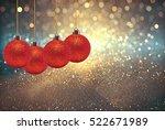 Red Ball Christmas On Abstract...