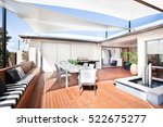 this patio area has a wooden...   Shutterstock . vector #522675277