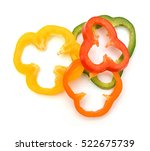 Sliced Pepper Isolated On Whit...