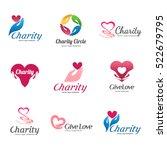 set of vector logos for charity ... | Shutterstock .eps vector #522679795