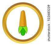 corn cob vector icon in golden... | Shutterstock .eps vector #522683239