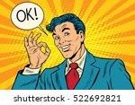 joyful businessman ok gesture   Shutterstock .eps vector #522692821