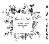 vintage floral wedding...   Shutterstock .eps vector #522696181