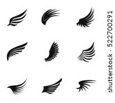 wings feather tattoo icons set. ... | Shutterstock .eps vector #522700291