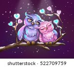 cute owls on the branch. lovely ... | Shutterstock . vector #522709759